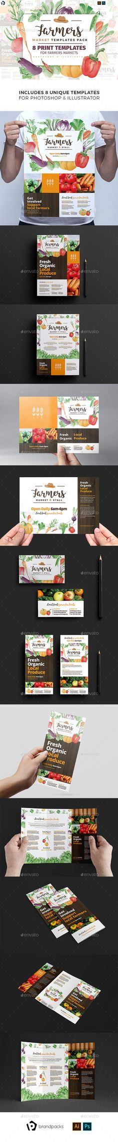 Farmers Market Templates Pack This set of readymade print templates are perfect . A4 Poster, Poster Prints, Posters, Farmers Market, Organic Packaging, Print Templates, Invitation Templates, Psd Templates, Flyer Template