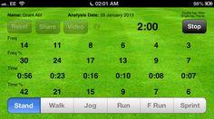 Time motion. App gratis. Te permite grabar, analizar algún vídeo existente en tu almacén la actividad de la persona que hace deporte discriminando entre correr, caminar, sprint...