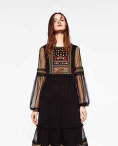 ZARA - WOMAN - PLUMETIS EMBROIDERED DRESS