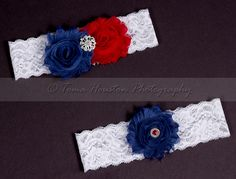 Bridal, Wedding Garter Set- Red, White, and Blue Shabby Chiffon Flowers, White Lace   Toma's Tutus and Things