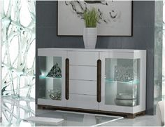Lorenz High Gloss White Wide Sideboard Glass Door LED Lights