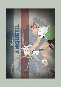 Retro Cycling - Jacques Anquetil Original graphic poster art designed in The Northern Line studio in Ulverston, Cumbria. We ship worldwide. #cycling #posters #graphicart