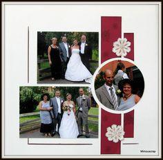 Mariage - photos de famille Plus Wedding Scrapbook Pages, Scrapbook Journal, Baby Scrapbook, Scrapbook Paper Crafts, Wedding Album Layout, Scrapbook Examples, Scrapbook Sketches, Scrapbook Page Layouts, Card Sketches