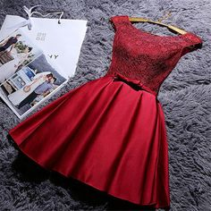 2016 Custom Charming Dark Red Lace Homecoming Dress,Sexy Sleeveless Evening Dress, Lace Short Dress For…