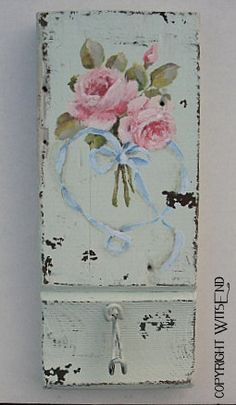 Rose Wreath painting original on antique architectural wooden plinth block with vintage wire hook ooak.  By WitsEnd, via Etsy.  SOLD