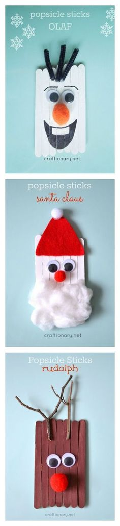 Popsicle stick kids crafts for Christmas including Santa Claus, reindeer, and Olaf the snowman! Adorable Christmas ornaments for kids to make this holiday season! (Diy Crafts For Teachers) Preschool Christmas, Christmas Activities, Christmas Crafts For Kids, Diy Christmas Ornaments, Craft Stick Crafts, Craft Activities, Christmas Projects, Preschool Crafts, Kids Christmas
