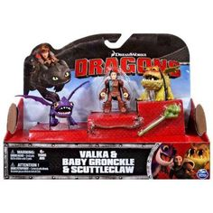 DreamWorks Dragons Dragon Riders, Valka and Scuttleclaw with Baby Gronckle Figures, Multicolor