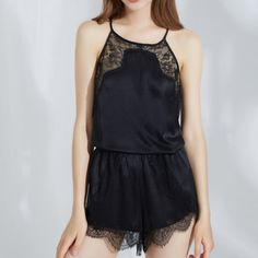 Black Silk Shorts with Elastic Waistband and Lace Lining from Silk Only
