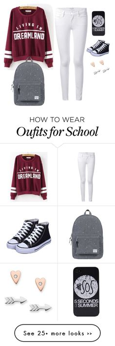 """""""Back to school"""" by madisonbuckwalter on Polyvore featuring Frame Denim, FOSSIL and Herschel Supply Co."""