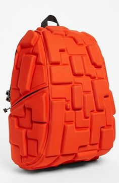 MadPax 'Blok' Backpack in olive with orange pencil case