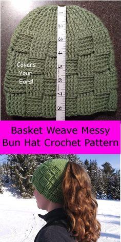 e686ac26b29 Basket Weave Ponytail Beanie Crochet Pattern