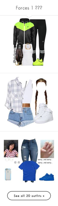 """""""Forces 1 😻😈😈"""" by prinxcess-adri ❤ liked on Polyvore featuring adidas, NIKE, American Eagle Outfitters, Andrea, Levi's, Vince Camuto, Rails, Ralph Lauren, Linda Farrow and Vero Moda"""