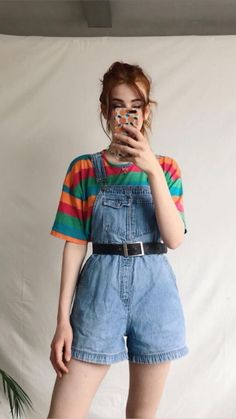 I love this outfit retro outfits, cute vintage outfits, overalls vintage, cool outfits Retro Outfits, Cute Vintage Outfits, Overalls Vintage, Mode Outfits, Grunge Outfits, Casual Outfits, 80s Style Outfits, School Outfits, Ootd Summer Casual