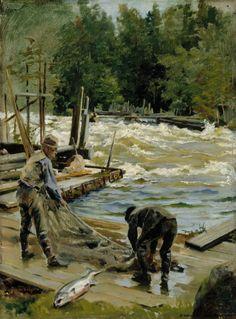 Gunnar Berndtson (1854-1895) Lohenpyynti / Salmon Fishing 1892 - Finland