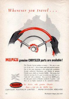 https://flic.kr/p/KSJGhW | 1957 Chrysler Mopar Genuine Parts Wherever You Travel... Aussie Original Magazine Advertisement