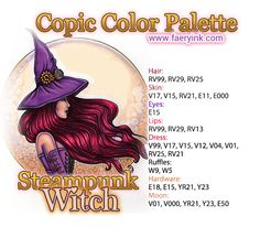 Steampunk Witch Profile Copic Color Palette by Amanda S. Byron www.FaeryInk.com Copic Color Chart, Copic Colors, Alcohol Markers, Pro Markers, Steampunk Witch, Copic Markers Tutorial, Spectrum Noir Markers, Copic Art, Color Of The Day