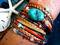 "Turquoise, Bronze, Camel - Chic Endless BoHo Leather 3X Multi Strand Wrap, Fresh Water Pearls, Crystals Beaded Bracelet....""FREE SHIPPING"""
