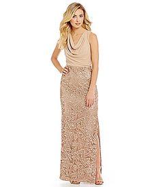Calvin Klein Matte Jersey Cowl Neck Sequin Gown #Dillards