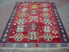 Anatolian Turkish Sardes Nomads Candle Design Kilim Rug Carpet 68 5 x 102 7 | eBay