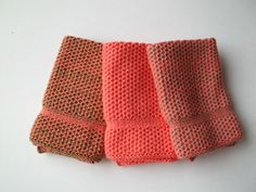 Dish Cloths Knit in Cotton in Apricot by TheNeedleHouse on Etsy, $12.00