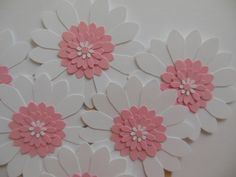 Flower Cupcake Toppers - Pink and White Daisies - Girl Birthday Parties - Bridal Showers - Weddings - Girl Baby Showers