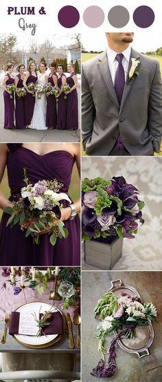 plum purple and warm grey fall wedding colors