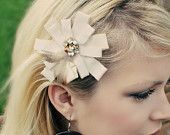 Ivory Creme Cream Flower with Gems and Feathers - Hair Clip Bow - Christmas Holiday Wedding Bridal Photography Prop Girls Women
