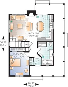 28x36, Cottage Style House Plan - 3 Beds 2 Baths 1370 Sq/Ft Plan #23-2295 Floor Plan - Main Floor Plan - Houseplans.com