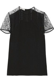 Michael Kors Chantilly lace-trimmed silk-georgette top | NET-A-PORTER