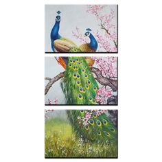 Framed Animal Canvas Art Prints Peacock and Flowers Wall Art Canvas Painting Print For Living Room Home Decor 3 Panels (Large) * Quickly view this special  product, click the image (This is an amazon affiliate link. I may earn commission from it)