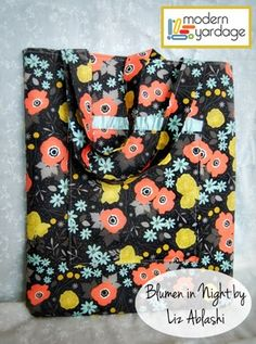 Ruffle Pocket Tote tutorial @ Mommy by Day Crafter by Night with Blumen fabric design available at www.modernyardage.com | #DIY #fabric #sewing #quilting #design #easy