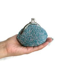 Crochet Coin Purse - Metal Frame Snap Closure - Teal Pink Color Pattern; Small Cotton Knit Coin Pouch, Accessories Pouch, Cute…