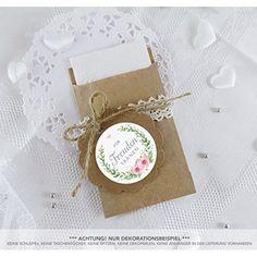 SET GROß: 48 Freudentränen Sticker + 48 braune Flachbeutel - Kraftpapier - 63 x 93 mm für Freudentränen Taschentuch Verpackungen / Aufkleber mit bunten Blumen im Retro Packpapier Look / 4cm Duchmesser, matt