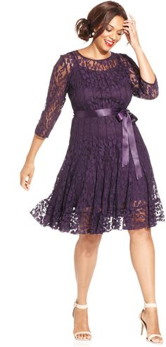 MSK Plus Size Illusion Floral Lace Dress from Macys. Saved to Obsessed with Dresses. Plus Size Cocktail Dresses, Plus Size Party Dresses, Dress Plus Size, Holiday Party Dresses, Trendy Dresses, Plus Size Outfits, Casual Dresses, Dress Party, Holiday Parties