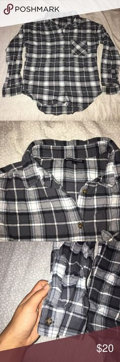 Brandy Melville Flannel super soft and cozy flannel from brandy melville! it's been worn a few times but is still in great condition. the plaid is grey, white, and baby blue Brandy Melville Tops