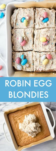 Blondies in a 8x8 pan with robin egg candy frosting. Easter desserts. Birds nest dessert for Easter. Malt ball candy dessert frosting.