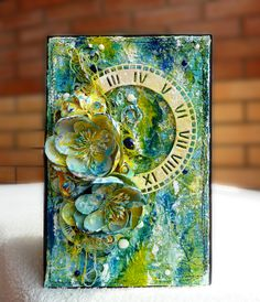 Paint card - Scrapbook.com - Use Gelatos and spray mist to create an artistic look on a beautiful card.