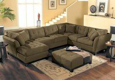 Cindy Crawford Home   Metropolis Espresso Left   4 Pc Sectional Living Room