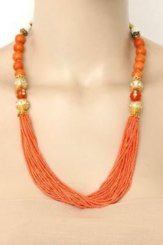 Peach Color Designer 23.5k Gold Plated Moti Mala (Necklace) 12775