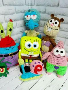 bob esponja tejido a crochet Tweety, Christmas Ornaments, Holiday Decor, Mini, Character, Stitches, Internet, Home Decor, Spongebob