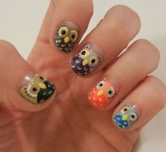 owl nail art- Just for you Cayla Learman! Owl Nail Art, Owl Nails, Minion Nails, Funky Nail Art, Funky Nails, Cute Nails, Pretty Nails, Nailart, Manicure Y Pedicure