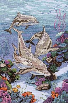 "GRAFICOS PUNTO DE CRUZ GRATIS : DELFINES(30) - dup; diff source, diff size - see ""Cross Stitch - Sea Mammals"" board"
