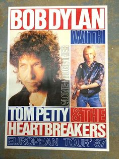 Original concert poster for Bob Dylan and Tom Petty European tour in 1987. 24 x 34 inches. Light handling marks