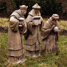 "Inspirational Wood Look Three Kings 35.4""H $359.00 Inspired by a  mission trip to a children's home.  These Wise Men are cast from a real wood carving for an authentic wood look.  Made from durable resin.  Dimensions: King 1-28""H, King 2-35""H, King 3-35""H http://www.christmasnightinc.com/c175/Inspirational-Wood-Look-Three-Kings-354H-p1281.html#"