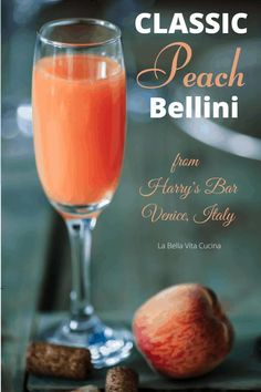 Classic Bellini from Venice, Italy | La Bella Vita Cucina #peach #bellini #prosecco #italian #cocktail #peaches #beverage Italian Cocktails, Bellini Cocktail, Peach Bellini, Brunch Recipes, Cocktail Recipes, Margarita Recipes, Strawberry Bellini, Famous Cocktails, Gourmet