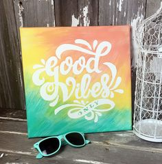 Hand Painted Canvas Wall Art Good Vibes by ThePinkToolBox Handgemalte 12 x 12 Leinwand Wandkunst gute Stimmung von ThePinkToolBox Cheap Wall Art, Diy Wall Art, Diy Art, Wall Decor, Cute Canvas Paintings, Diy Canvas Art, Hand Painted Canvas, Canvas Crafts, Hippie Painting