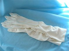 White Elbow Length Gloves