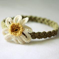 Crochet PATTERN (pdf file) - Daisy Braided Headband (sizes - baby to adult). $2.99, via Etsy.