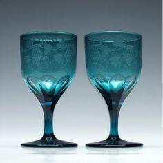 Pair of Engraved Regency Teal Blue Glasses c1830