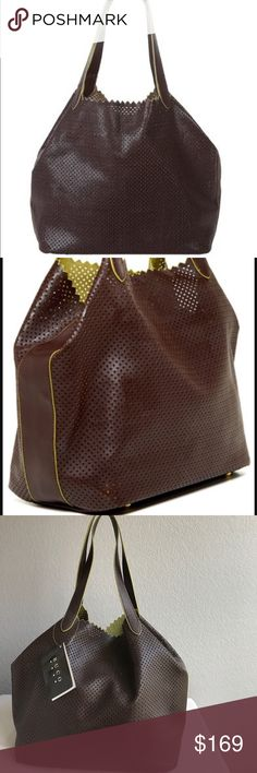 """Buco handbags medium diamond hobo purse Designer Buco hobo handbag in espresso and green faux leather diamond cut with laser techniques, very light weight . A elegant charming work - to - weekend look. 14"""" x 19"""" x 6"""" Buco Bags Hobos"""